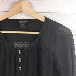 🐢 LUCKY BRAND Black Semi Sheer Boho Top Blouse